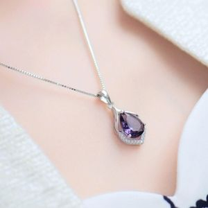0e8145ef62d59 Swarovski Amethyst CZ Teardrop Pendant Necklace Boutique